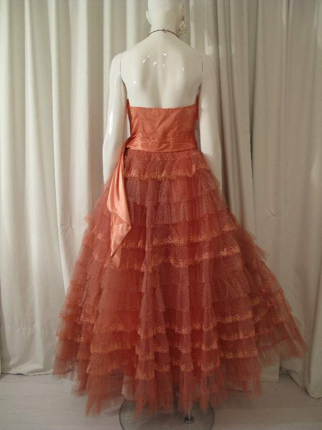 1950 s Salmon pink tulle and lace strapless vintage ball gown SOLD